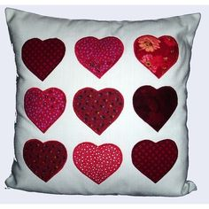 Cushion applique with red hearts (Valentine's)