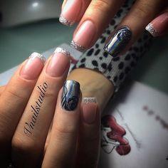 Beautiful new year's nail, Black and silver nails, brilliant nails, Christmas gel polish, Christmas shellac, French patterned manicure, New year nails ideas 2017, Silver nails