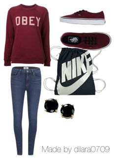 """Wein rot"" by dilara0709 ❤ liked on Polyvore featuring NIKE, Paige Denim, OBEY Clothing, Vans and B. Brilliant"