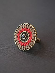 Coral woven cord ring