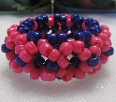 Kandi 3D Beaded Cuff Stretchy Bracelet With Blue and Pink Pony Beads