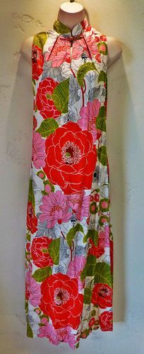 Vintage 60s Hawaiian Maxi Dress Long Caftan Lauhala Pink Red Floral Tunic Gown | eBay On auction starting at $0.99 with no reserve!