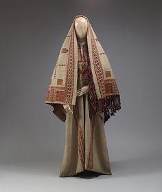 Ensemble, 19th c., Middle Eastern (Palestinian peoples), linen, cotton, metal