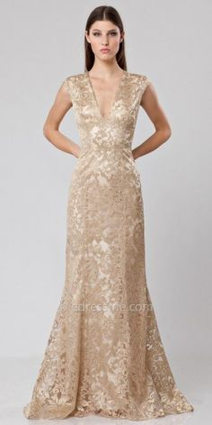 JS Collections Metallic Lace Evening Gown