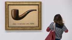 I can tell you what it isn't … a visitor looking at Magritte's 1929 painting La Trahison des Images, ceci n'est pas une pipe. Fridah Kahlo, Centre Pompidou, Edouard Vuillard, Rene Magritte, John Singer Sargent, Street Names, Equine Art, Wassily Kandinsky, Pencil Portrait