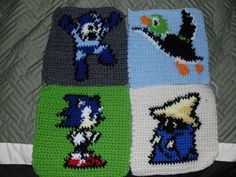 I have got alot of people asking for the patterns i made for my Epic Gamer Afghan. This pack contains the charts for Megaman, Sonic, Duck Hunt, and Final Fantasy.