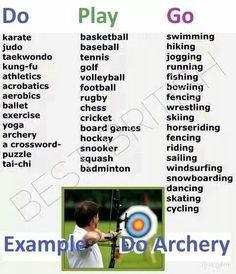 English Verbs for sport ✿ English Language / Learning English / Easy English… English Idioms, English Writing, English Study, English Grammar, English Play, English Tips, English Lessons, Sport English, Grammar And Vocabulary