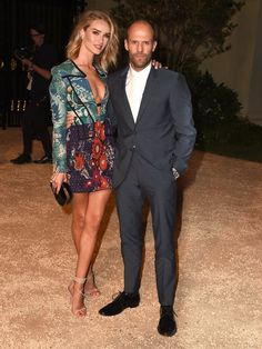 Pin for Later: London Came to LA Last Night Courtesy of Burberry Rosie Huntington-Whiteley and Jason Statham
