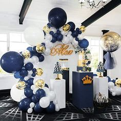 Bridal Shower Decorations 249668373080825139 - Midnight Blue and Gold Balloon Garland, Balloons, Balloon Garland Kit, Bridal Shower, Anniversa Source by jeanettefebres Royal Baby Shower Theme, Royal Baby Showers, Baby Shower Backdrop, Baby Girl Shower Themes, Baby Shower Decorations For Boys, Baby Shower Centerpieces, Baby Boy Shower, Baby Shower Balloons, Birthday Decorations