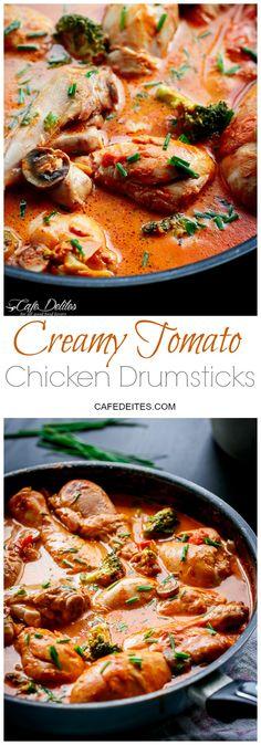 One Pan Creamy Tomato Chicken Drumsticks | http://cafedelites.com