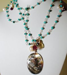 Long Turquoise & Gold Necklace Vintage Black Mother of Pearl Cameo – Sara Nolte Designs
