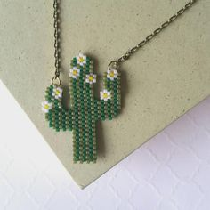 Saguaro Cactus in Bloom Pendant, Peyote Stitch Miyuki Delicas Motif - Excited to share the latest addition to my shop: Saguaro Cactus in Bloom Pendant, Peyote Stit - Seed Bead Patterns, Beaded Jewelry Patterns, Peyote Patterns, Bracelet Patterns, Seed Bead Jewelry, Bead Jewellery, Seed Beads, Bead Earrings, Bead Crochet Rope