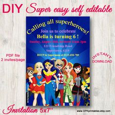 Superhero Girls Invitation Girl superhero by DPKprintables