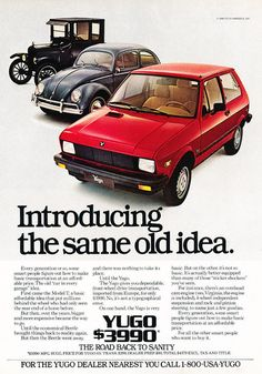 1986 Yugo Car GV Fiat-like -  Classic Vintage Advertisement Car Ad