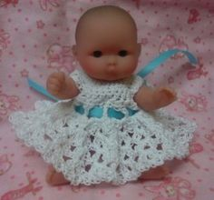 Free Crochet Pattern Itty Bitty Berenguer 5 inch Baby Doll Dress In Thread