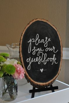 Wedding Chalkboard Sign // Sign Our Guestbook Sign // Rustic Wedding Sign