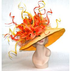 New Church Kentucky Derby Hat Yellow Orange ($400) ❤ liked on Polyvore