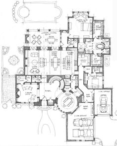 Fun floor plan. Love the round dining room.