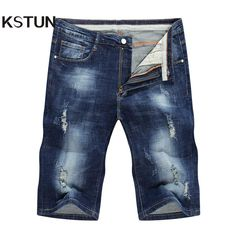 89a2fa861ab66 KSTUN Jeans mens stretch shorts ripped torn distressed denim pants cargo jeans  skinny joggers knee length