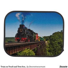 Train on Track and Tree Scene Set of 2 Car Mats