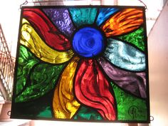 Stained Glass Panel Abstract Flower 4 Hand Painted Kiln Fired Leaded New