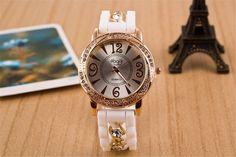 2017 New Dress Casual Quartz Clock Female Popular Relogio Luxury Diamond Ladies Wristwatches Women Silicone Chain Fashion Watch