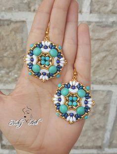Earrings Greece beading pattern by NickyArtGioielli on Etsy