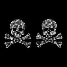 Set of Two Face Mask Size Skull Crossbones Rhinestone Hot Fix Iron On Transfer