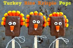 Turkey Rice Krispie Pops are a fun and easy way to create edible Thanksgiving treats for neighbors and friends! #misscandiquik #candiquik #thanksgiving