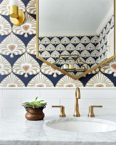 Wallpaper Accent Wall Bathroom, Powder Room Wallpaper, Bathroom Accents, Bold Wallpaper, Modern Wallpaper, Wallpaper For Bathrooms, Best Removable Wallpaper, Laundry Room Wallpaper, Amazing Wallpaper