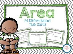 Differentiated task cards for area! Perfect for math centers.
