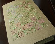 lovely embroidery on moleskin book cover
