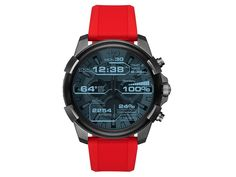 Diesel Connected DZT2006 Black IP Red Resin Strap Smartwatch - W11152 | F.Hinds Jewellers Smartwatch, Diesel, Oversized Watches, Track Workout, Burn Calories, Connection, Resin, Personal Style, Smartphone