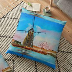Large Cushions, Weird Holidays, Meaningful Gifts, Windmill, Pillow Design, Top Artists, Floor Pillows, Netherlands, Holland