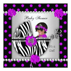 """African American Cute Baby Shower, Baby Girl with Purple Pink Black Polka dots and White Zebra Print Pram, Pearl Lace Pearl Lace Bow Ribbon invitation, new baby, girl  CLICK """"read more"""" for Matching products! <b>Fabulous Women, Girls,  Zizzago created this design PLEASE NOTE all images are NOT Diamonds Jewels or real Bows!!</b>"""