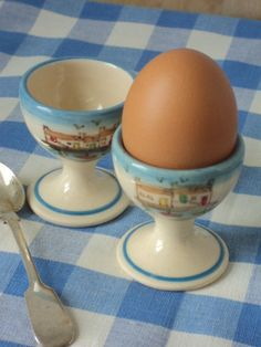 Items similar to Egg Cups x 2 with Hand Painted Harbour Scenes . Hand thrown in clay on Etsy Earthenware Clay, Egg Cups, Creamy White, Kitchen Items, Eggs, Hand Painted, Cornish Coast, Kitchen Decorations, Glaze