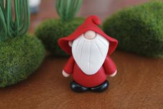 Polymer Clay Gnome - Custom Color Gnome - Miniature Gnome - Mini Clay Gnome - Fairy Garden Accessory - Terrarium Accessory - Gnome Sculpture by GnomeWoods on Etsy https://www.etsy.com/listing/207945985/polymer-clay-gnome-custom-color-gnome