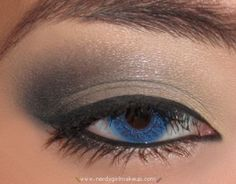 Great step by step photos if you follow the link. Smokey look for hooded eyes. For Mary Kay shades, try Sweet Cream, Granite and Coal.  www.marykay.com/pstrickland15