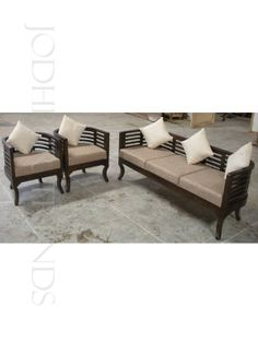 curvy-sofa-set This sheesham wood sofa set in honey color is tailored to perfection. This sofa family includes 1 Three seater cushioned sofa and 2 Single seater cushioned sofa.
