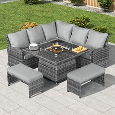 Compact Cambridge Casual Dining Corner Sofa Set with Firepit Table Rattan Corner Dining Set, Corner Sofa Set, Garden Dining Set, Garden Seating, Dining Table, Patio Furniture Sets, Rattan Furniture, Grey Outdoor Furniture, Grey Garden Furniture