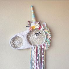 This magical unicorn dream catcher is perfect for your little Unicorn lover! Available in Regular (around 13 wide/23 or so tall) and Mini (around 8 wide/16 or so tall) sizes