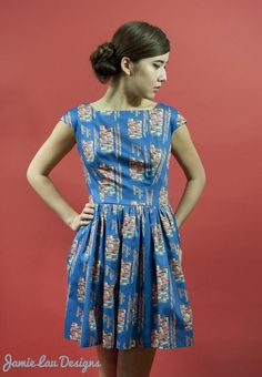 Image of Electric Cranes Gathered-Waist Dress