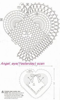 Gráfico Jogo americano coração em crochê