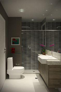 Projeto do escritório Atelier da Reforma - Banheiro da mulher - Render SketchUp + V_ray