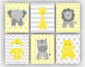 Yellow and Grey Jungle Animals, Elephant, Giraffe, Hippo, Lion, Monkey, Zebra, Chevron, Baby BOY wall art, Set of 6, 8x10, INSTANT DOWNLOAD