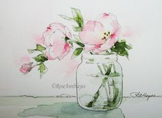 Watercolor Painting Pink Evening Primrose Print por RoseAnnHayes
