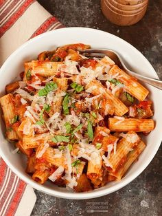 Pasta with Eggplant and Ricotta Salata (Pasta alla Norma): This simple pasta recipe combines eggplant, tomato sauce, fresh basil and two cheeses to make deliciously satisfying main dish with classic Italian flair.