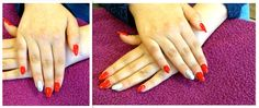 Red manicure acrylic extensions with silver feature nail.