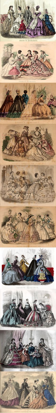 Godey's Lady's Book, September 1864, can be read on DIY Collaboratorium's library page. Almost every issue of Godey's Lady's Book included an illustration, and a pattern with measurements for a garment, to be sewn at home. There are also many long lost crochet patterns.