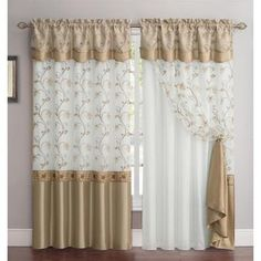 Shop for VCNY Audrey Curtain Panel with attached Backing & Valance. Get free delivery On EVERYTHING* Overstock - Your Online Home Decor Outlet Store! Layered Curtains, Colorful Curtains, Drapery Panels, Drapes Curtains, Gold And White Curtains, Curtains With Attached Valance, Rugs In Living Room, Living Room Decor, Shabby Chic Curtains